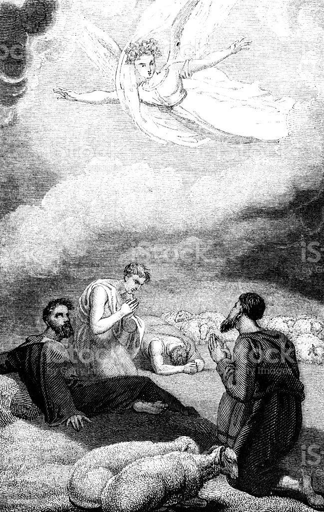 Ilustración de La Anunciacion De Pastores Del Nacimiento De Jesús ...