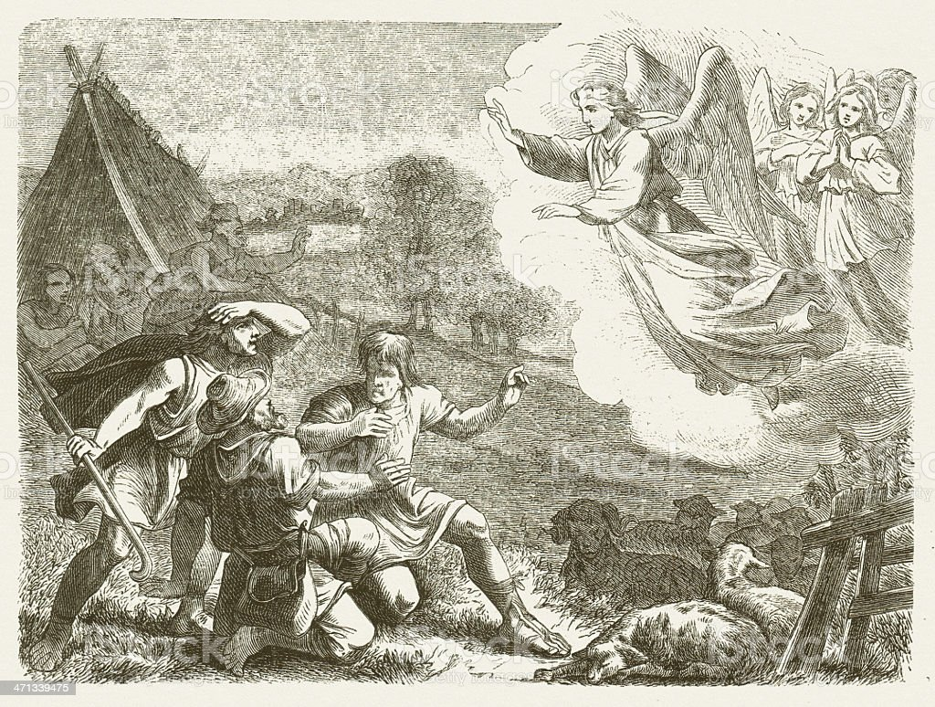 Annunciation to the Shepherds (Luke 2), wood engraving, published 1877 vector art illustration