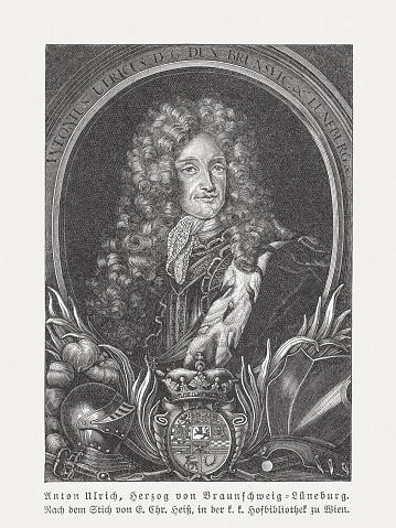 Anthony Ulrich, Duke of Brunswick-Wolfenbüttel (1633-1714), wood engraving, published 1897