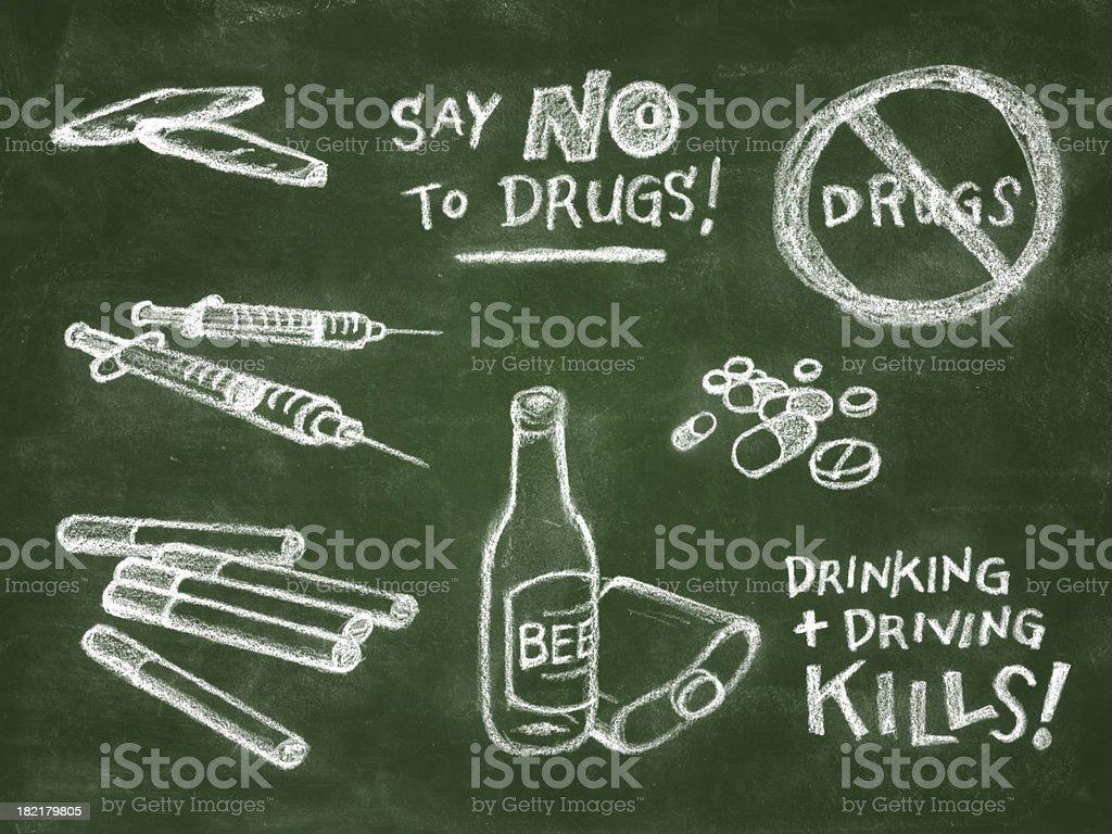 Anti Drug Chalkboard Illustration royalty-free stock vector art