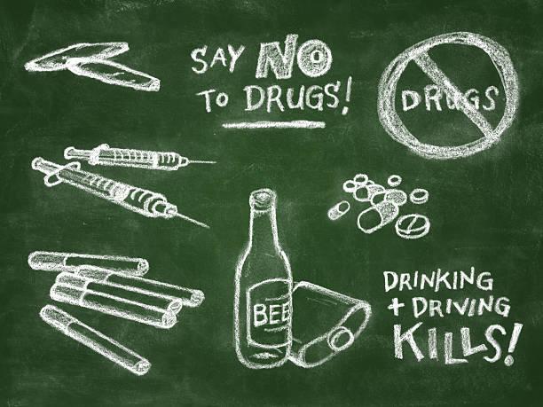 Anti Drug Chalkboard Illustration  drawing of a glass liquor flask stock illustrations
