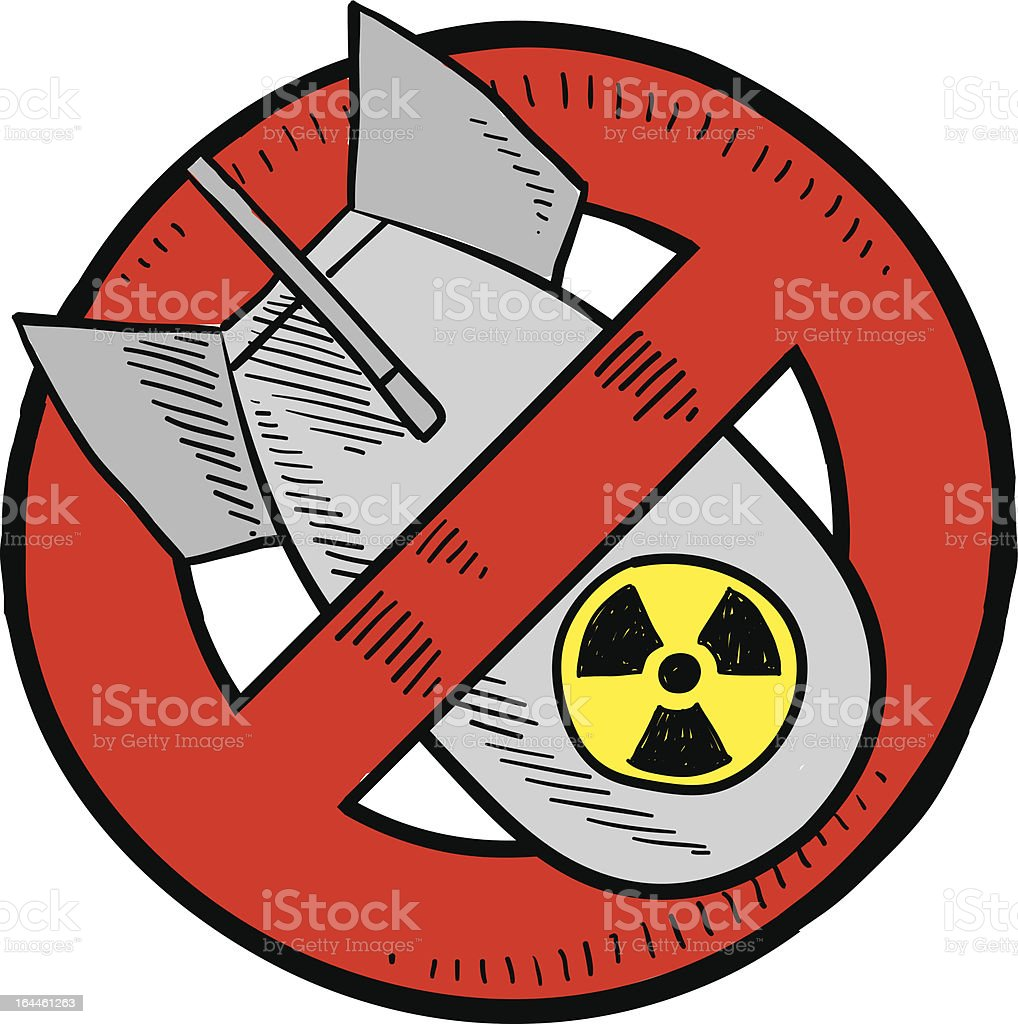 Anti-nuclear weapons sketch royalty-free stock vector art