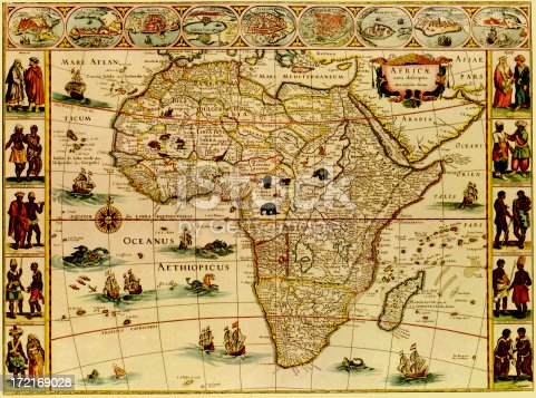 A close up of a medieval map of AfricaCLICK ON THE LINKS BELOW FOR HUNDREDS MORE SIMILAR IMAGES: