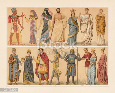 Antique and medieval costumes: 1) Egyptian king (pharaoh); 2) Egyptian queen; 3) Assyrian (1400 BC); 4) Greek man in the Himation; 5) Greek woman from Tanagra; 6) Roman official in the Toga praetexta; 7) Roman woman; 8) Byzantine emperor ornat (10th century); 9 Byzantine empress; 10) Franconian nobleman (9th century); 11) French knight (13th century); 12) Knight (13th century); 13) Knight and queen (14th century); 14) Flemish woman (15th century). Chromolithograph, published in 1897.