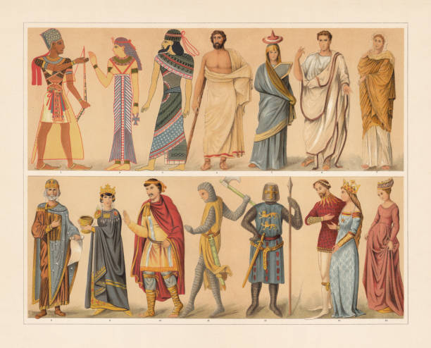 Antique and medieval costumes, chromolithograph, published in 1897 Antique and medieval costumes: 1) Egyptian king (pharaoh); 2) Egyptian queen; 3) Assyrian (1400 BC); 4) Greek man in the Himation; 5) Greek woman from Tanagra; 6) Roman official in the Toga praetexta; 7) Roman woman; 8) Byzantine emperor ornat (10th century); 9 Byzantine empress; 10) Franconian nobleman (9th century); 11) French knight (13th century); 12) Knight (13th century); 13) Knight and queen (14th century); 14) Flemish woman (15th century). Chromolithograph, published in 1897. ancient egyptian culture stock illustrations