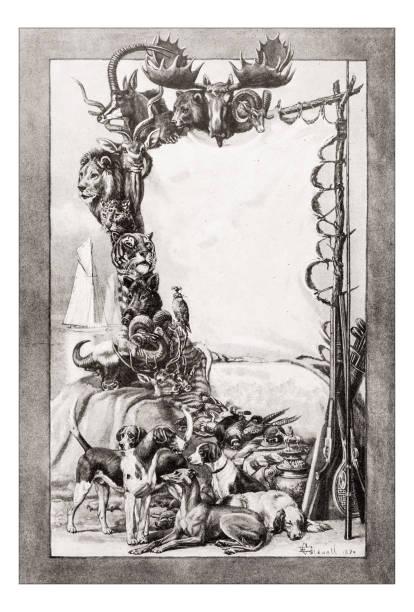 Antique animals illustration: Hunting trophy vector art illustration