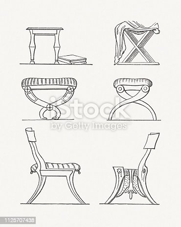 Antique armchairs and chairs. Wood engravings, published in 1897.