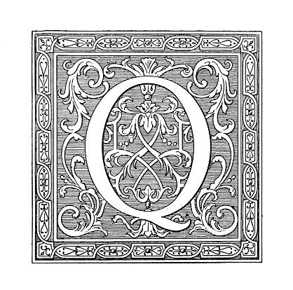 Antique art engraving illustration: Ornate letter Q