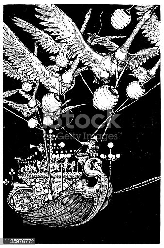 Antique Art Nouveau illustration by Archie MacGregor from children book: Flying ship