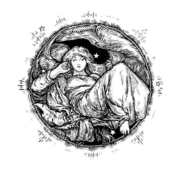 Antique Art Nouveau illustration by Archie MacGregor from children book vector art illustration