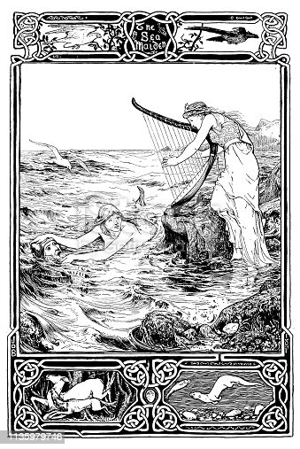 Antique Art Nouveau illustration from children book