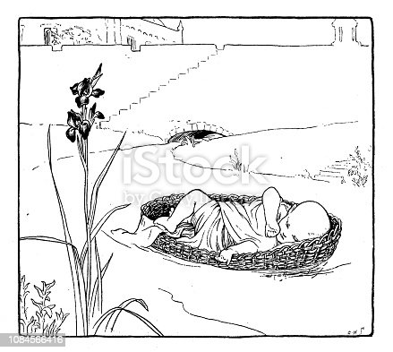 Antique art nouveau liberty engraving illustration from Arabian Nights fable book: Abandoned baby