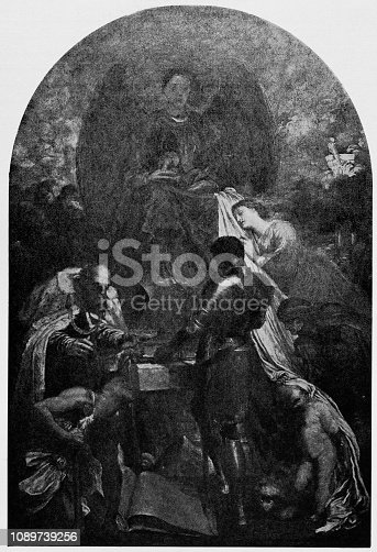 istock Antique art painting illustration: George Frederic Watts - The Court of Death 1089739256