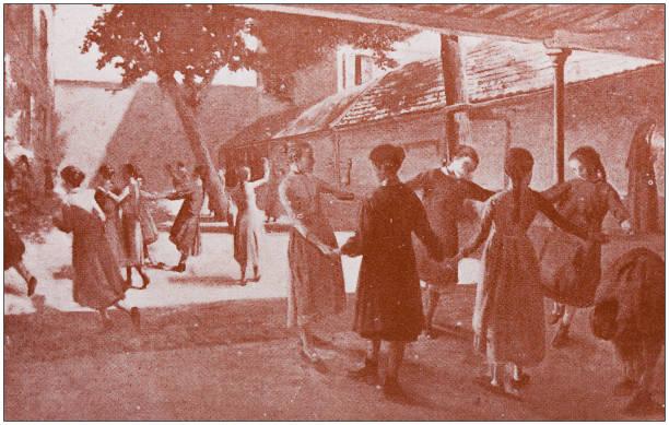 Antique art painting illustration: Playtime Antique art painting illustration: Playtime 1890 stock illustrations