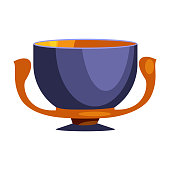 Antique blue cup with two handles flat icon. Kylix, Greek style, antiquity. Greek vases concept. illustration can be used for topics like ceramics, history, museum