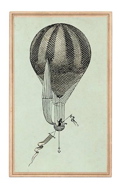 Antique book illustration: air-balloon vector art illustration