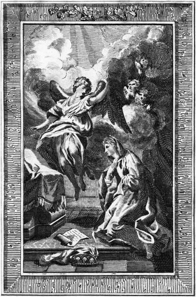 Antique book illustration: Annunciation of Virgin Mary (1792) vector art illustration