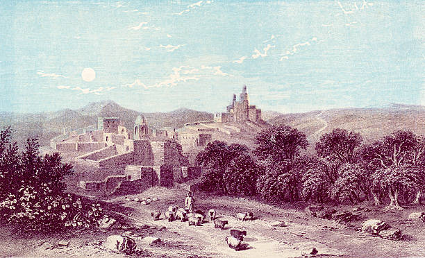 Antique book illustration: Bethany (Biblical village) vector art illustration