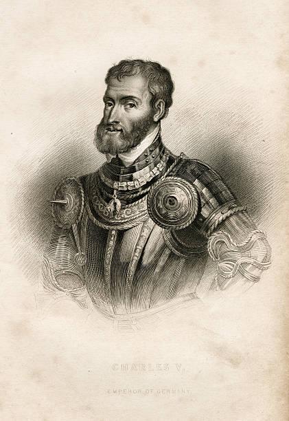 Antique book illustration: Charles V, Emperor of Germany vector art illustration
