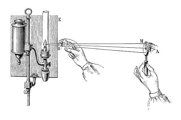 Antique book illustration: eye examination using an ophthalmoscope vector art illustration