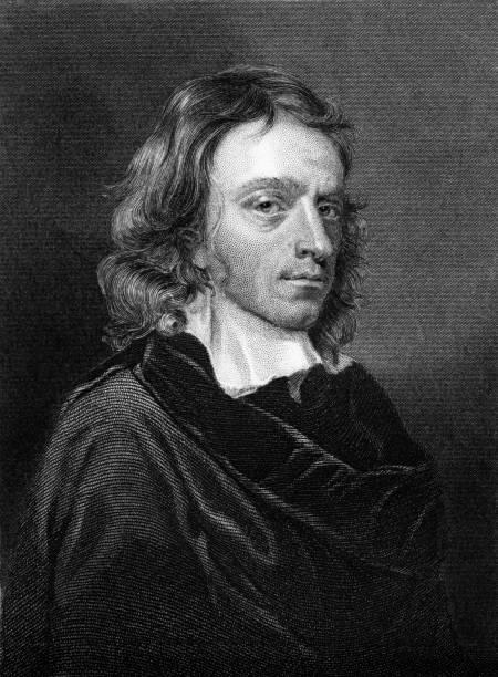 Antique book illustration: John Milton vector art illustration