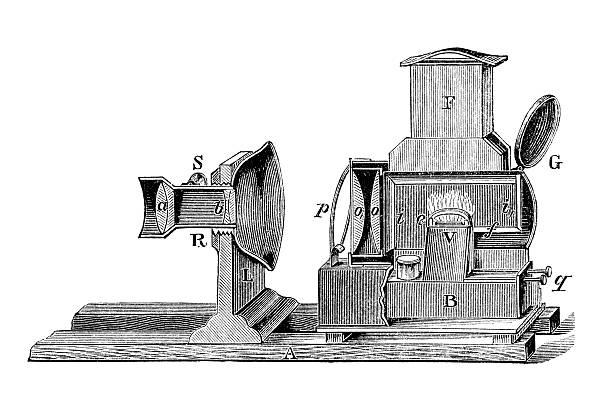 Antique book illustration: magic lantern vector art illustration