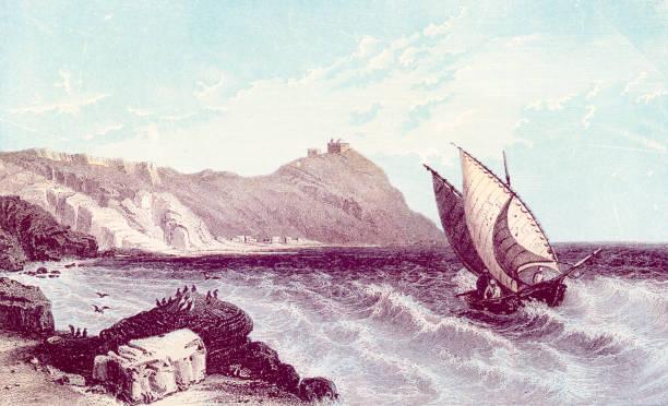 Antique book illustration: Mount Carmel vector art illustration