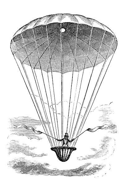 Antique book illustration: parachute vector art illustration