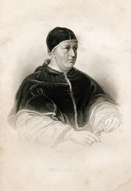 Antique book illustration: Pope Leo X vector art illustration