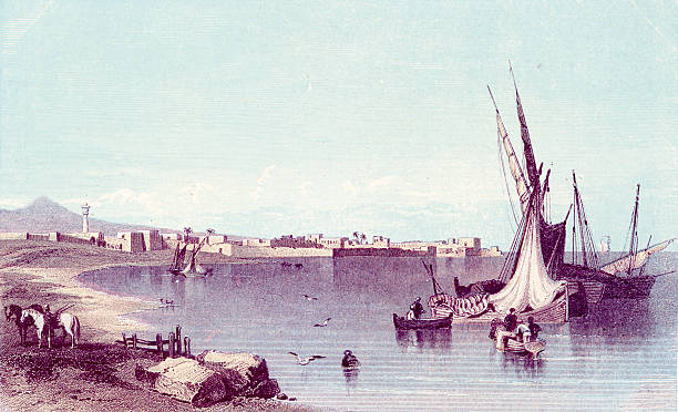 Antique book illustration: Port of Tyre in Lebanon vector art illustration