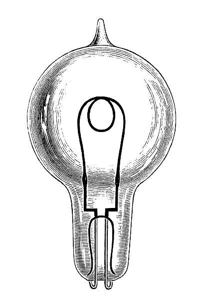 Antique book illustration: Swan's incandescent lightbulb vector art illustration