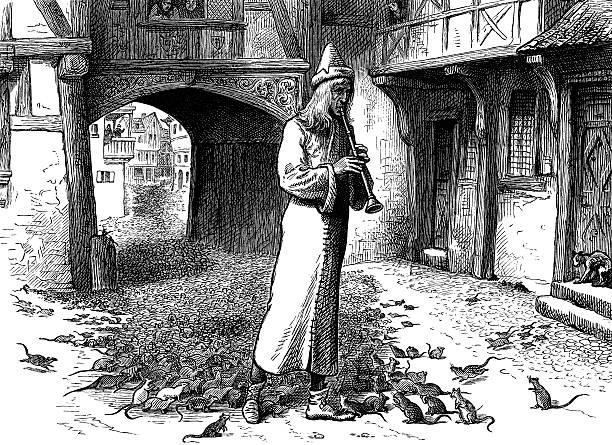 Antique book illustration: The Pied Piper of Hamelin vector art illustration