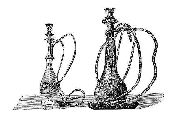 Antique book illustration: two waterpipes (argelehs) vector art illustration