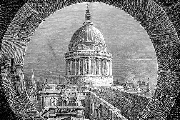 Antique book illustration: View of Saint Paul's Cathedral vector art illustration