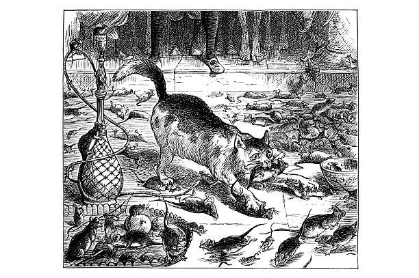 Antique book illustration: Whittington's nimble cat vector art illustration