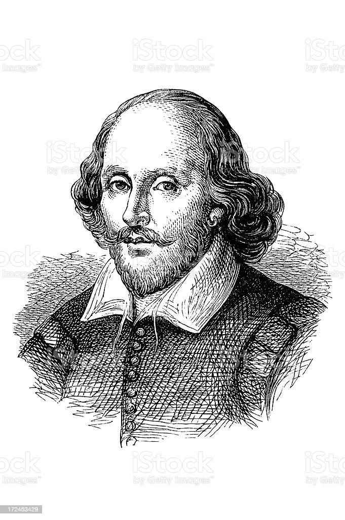 Antique book illustration: William Shakespeare royalty-free stock vector art