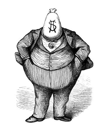 Antique Caricature of 'Fat Cat' Politician circa 1870s