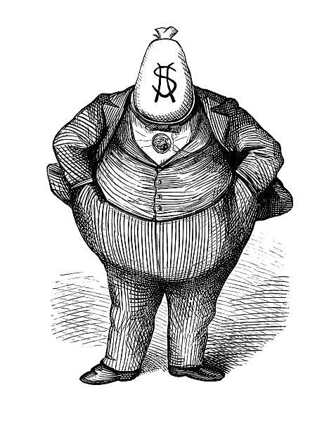 ilustrações, clipart, desenhos animados e ícones de caricatura do antigo'fat gato'político cerca de 1870 - político