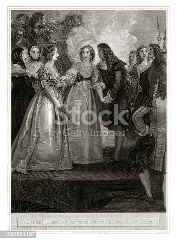istock Antique, Charles II Receiving the Duchess of Orleans at Dover, English Victorian Engraving, 1806 1257651107