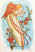Antique children book illustrations: Baby angel