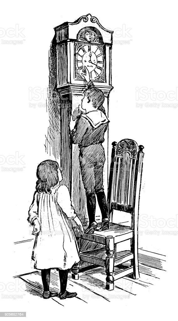 Antique Children Book Illustrations Children And Pendulum