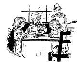 Antique children book illustrations: Children