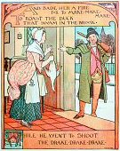 Antique children book illustrations: Hunter giving duck to wife