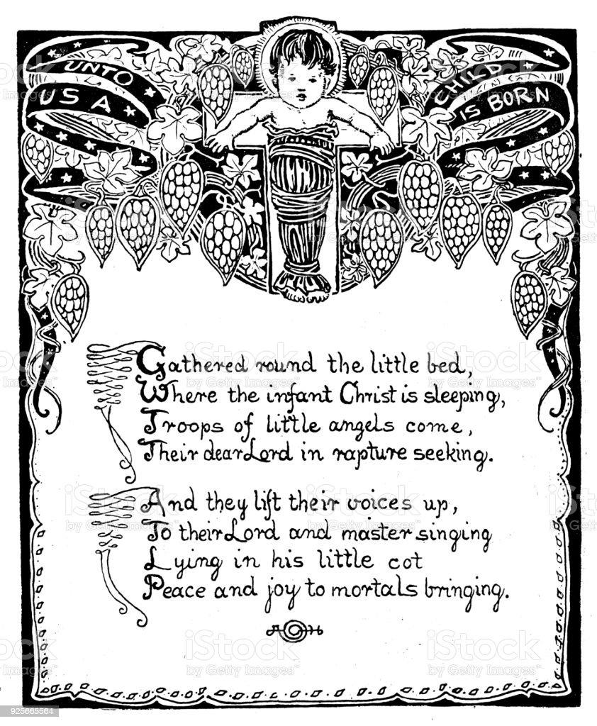 Antikes Kinder Buchillustrationen Geburt Gedicht Stock