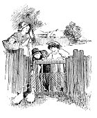Antique children book illustrations: People with ducks