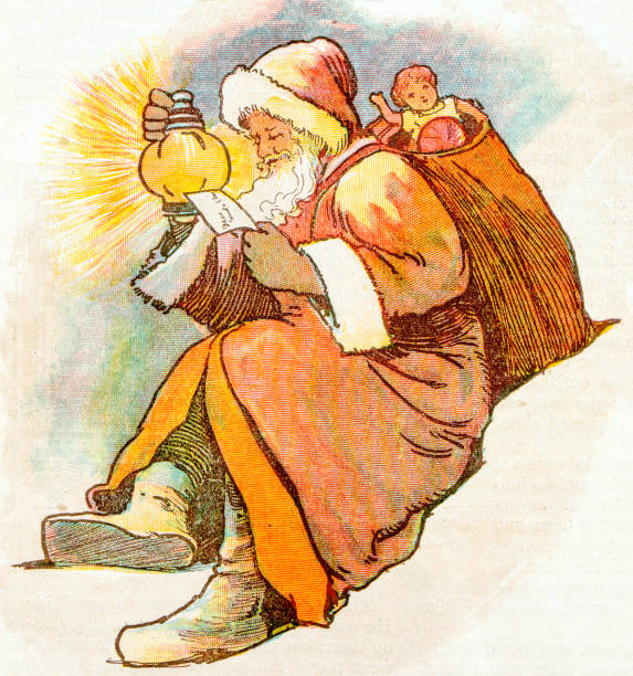 antique children book illustrations: santa claus - old man illustration pictures stock illustrations, clip art, cartoons, & icons