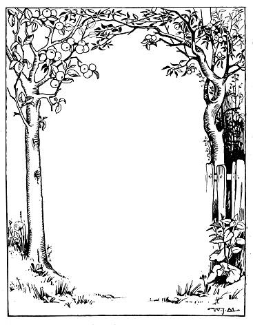 Antique children book illustrations: Tree frame