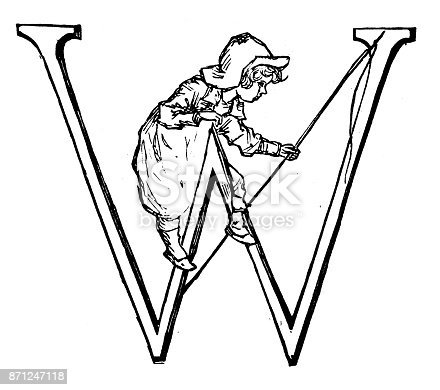 Antique children spelling book illustrations: Alphabet letter W