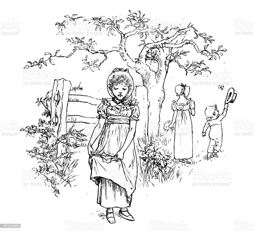 Antique children spelling book illustrations: Broken dress vector art illustration