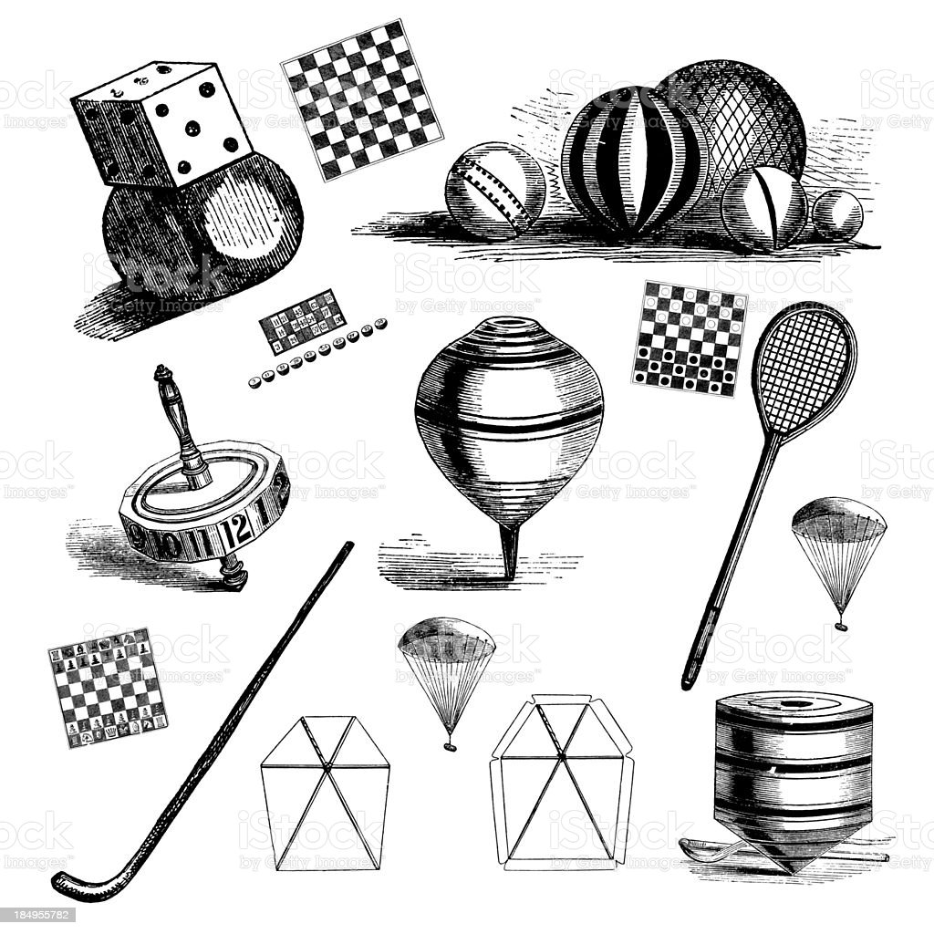 Antique Children Toys - Game Balls, Sport Racquets, Chess Etc royalty-free antique children toys game balls sport racquets chess etc stock vector art & more images of 19th century